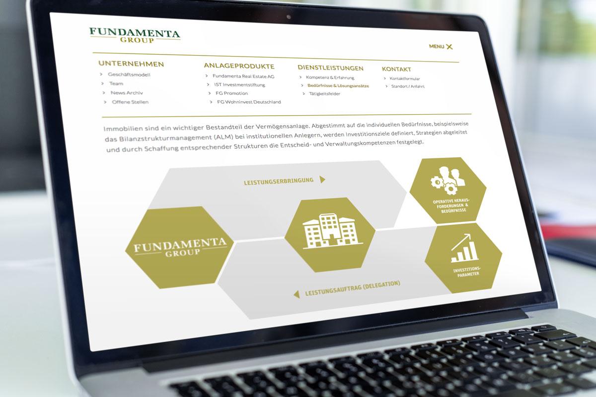 Darstellung einer Grafik auf der Responsive Corporate Website von Fundamenta