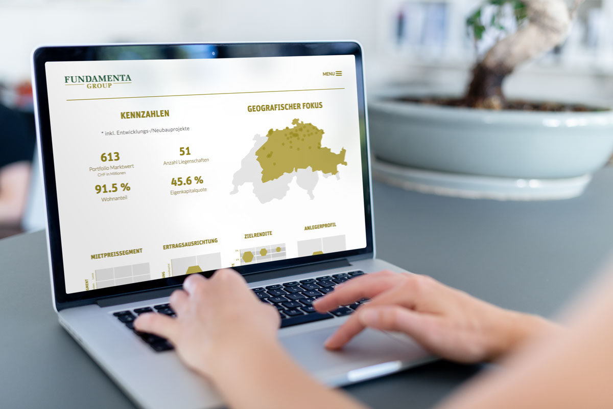 Darstellung von Kennzahlen auf der Responsive Corporate Website von Fundamenta