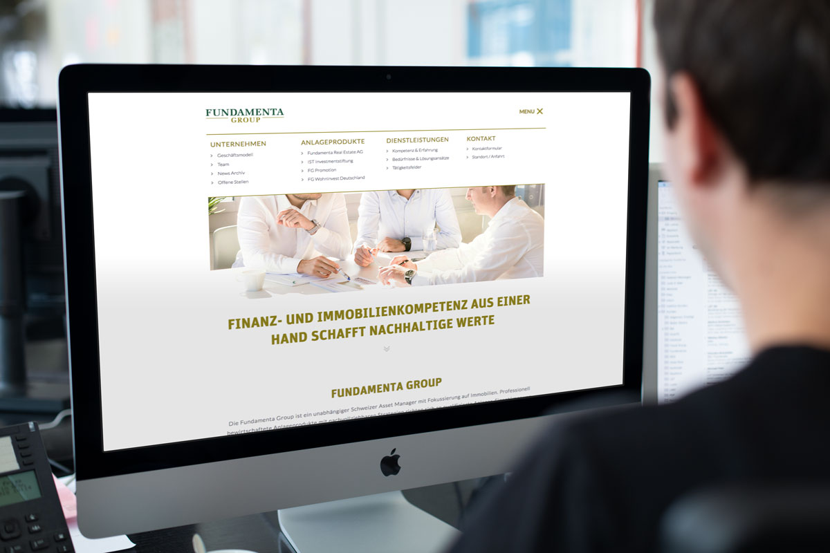 Darstellung der Navigation der Responsive Corporate Website von Fundamenta