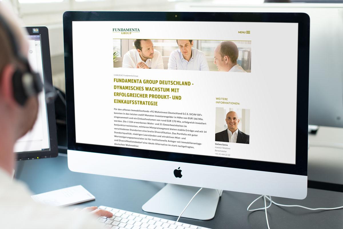 Darstellung des Newsmoduls auf der Responsive Corporate Website von Fundamenta