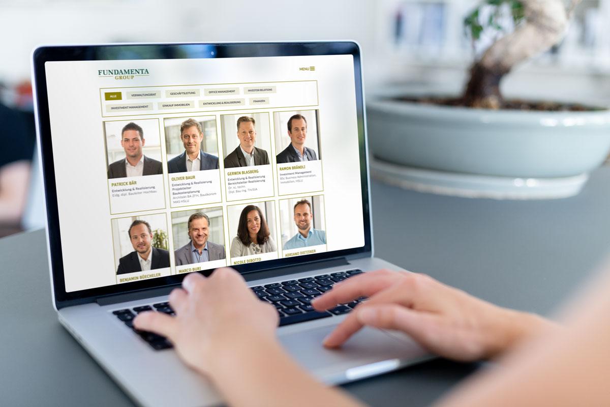 Darstellung des Personenmoduls auf der Responsive Corporate Website von Fundamenta