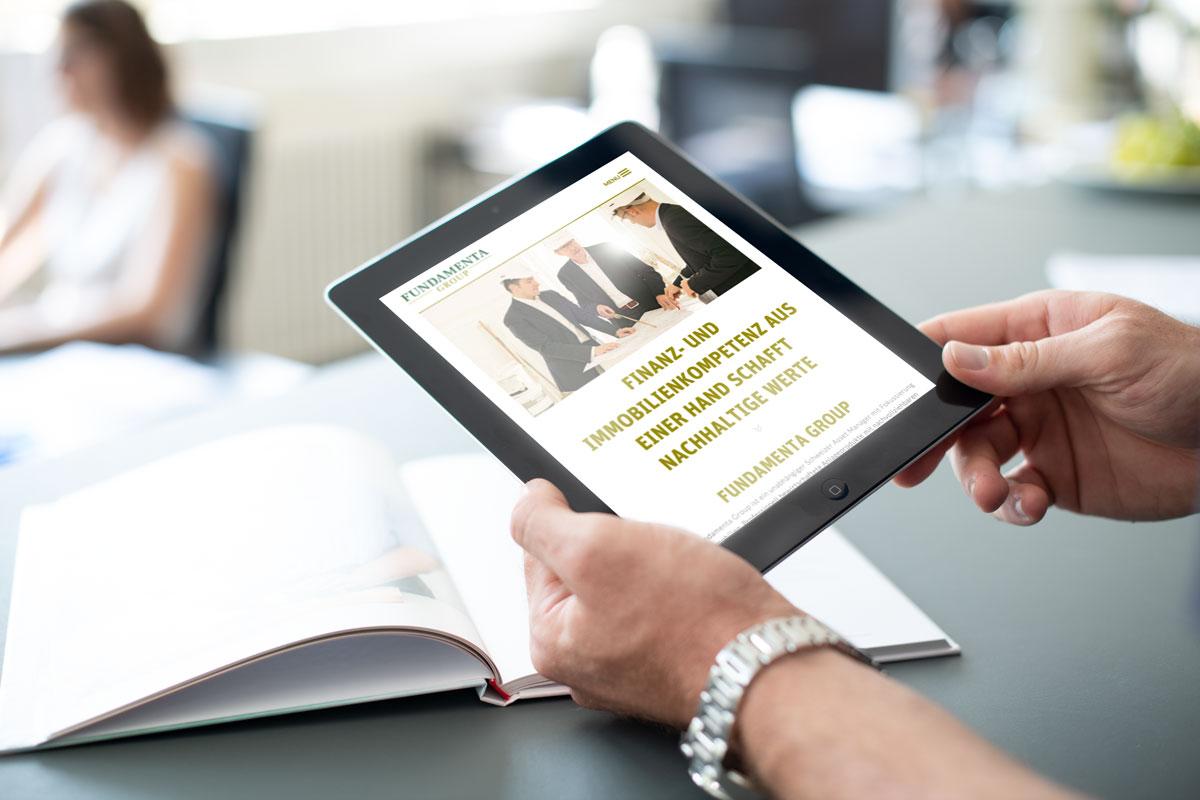 Darstellung der Responsive Corporate Website von Fundamenta auf dem Tablet
