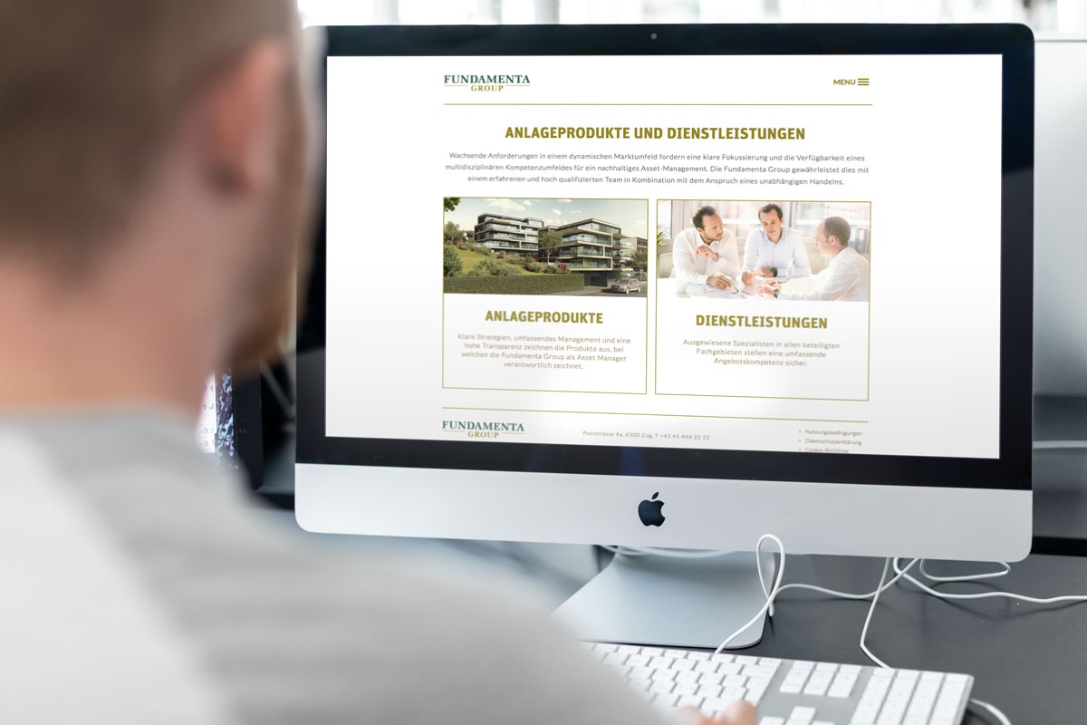 Darstellung der Responsive Corporate Website von Fundamenta