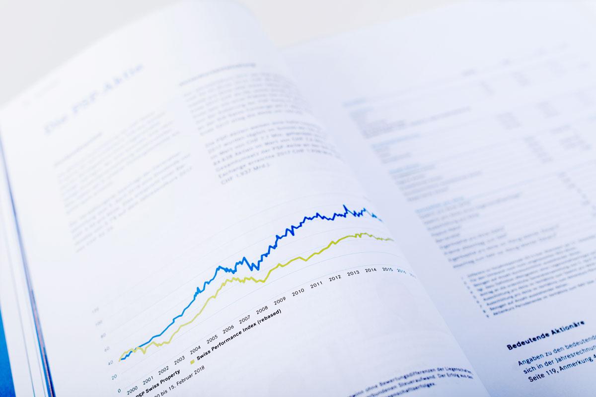 Grafik im gedruckten Geschäftsbericht von PSP