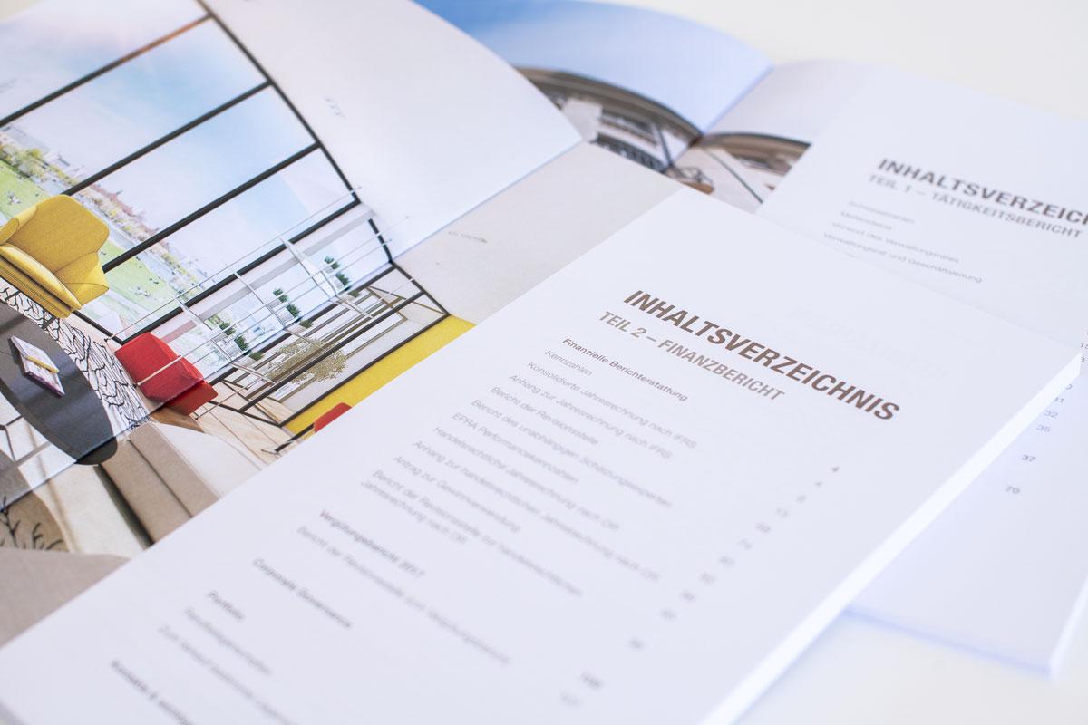 Aufgeschlagenes Inhaltsverzeichnis des gedruckten Geschäftsberichts 2017 von SFPI