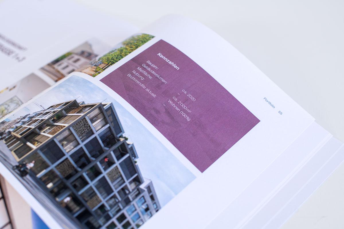 Auflistung von Kennzahlen auf einer Portfolio-Seite des gedruckten SFPI Geschäftsbericht 2017