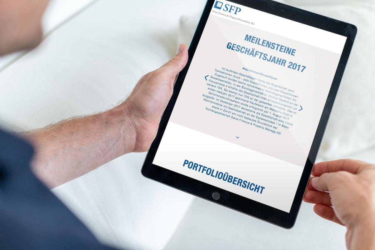 Darstellung der Milestones im Online Geschäftsbericht 2017 von SFP auf dem Tablet