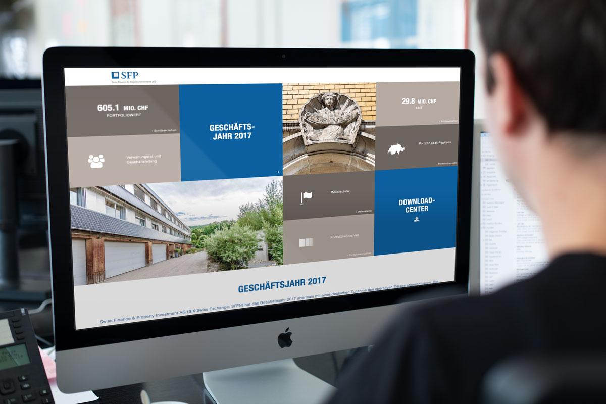 Darstellung der Startseite des Online Geschäftsberichts der SFP Group