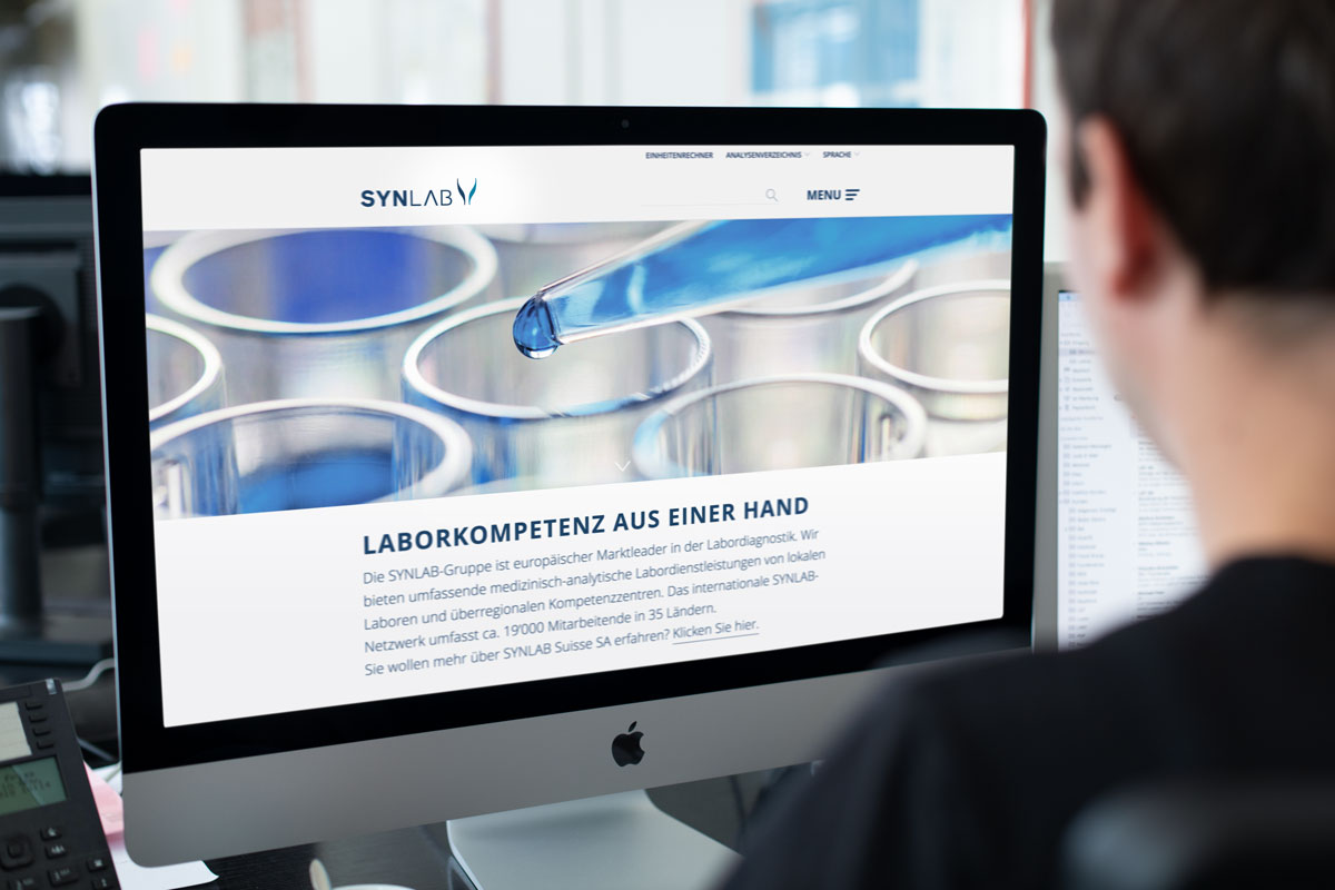 Corporate Design auf der Corporate Website von Synlab