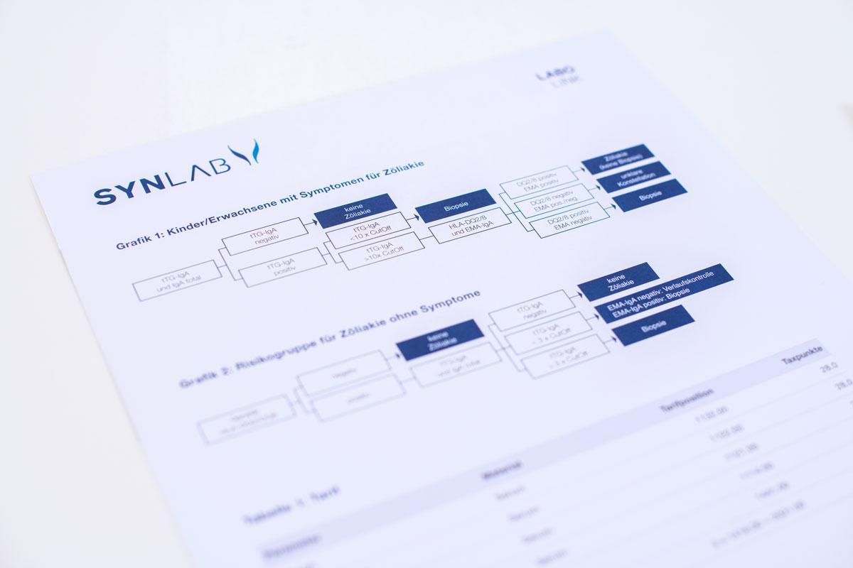Labolink Broschüre mit dem neuen Corporate Design von Synlab umgesetzt