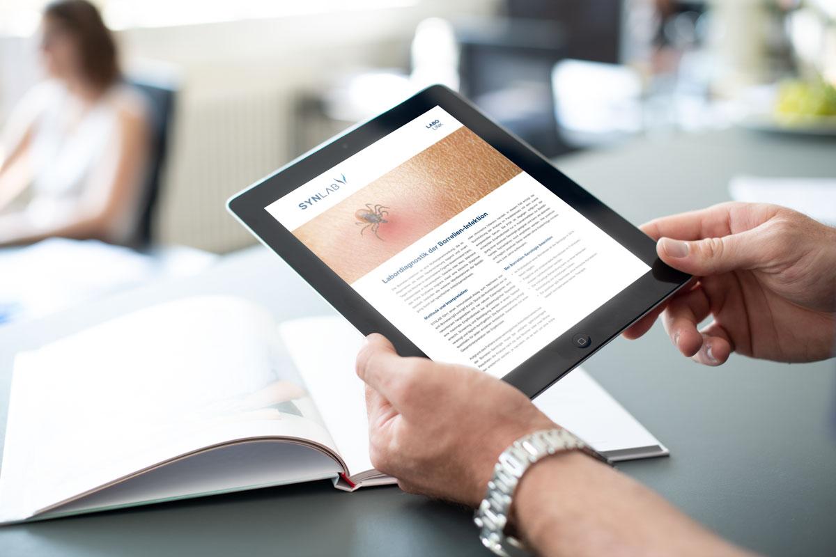 Darstellung von Marketingunterlagen auf der SYNLAB iPad App