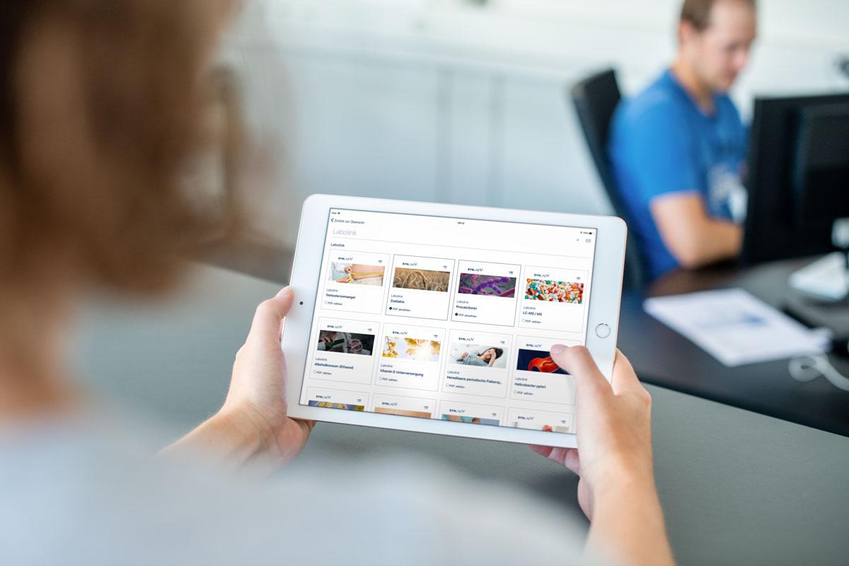Übersicht der Marketingunterlagen auf der programmierten SYNLAB iPad App