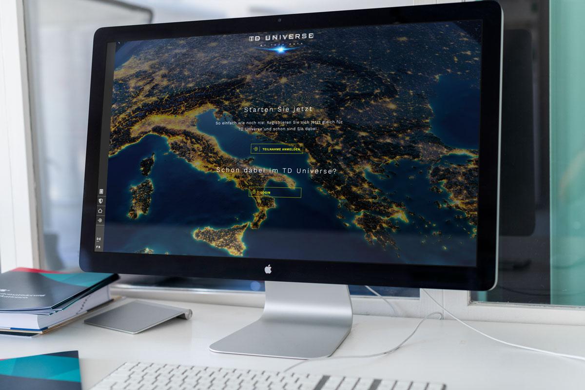 Aufwendig gestaltetes Webdesign auf einem Screen dargestellt
