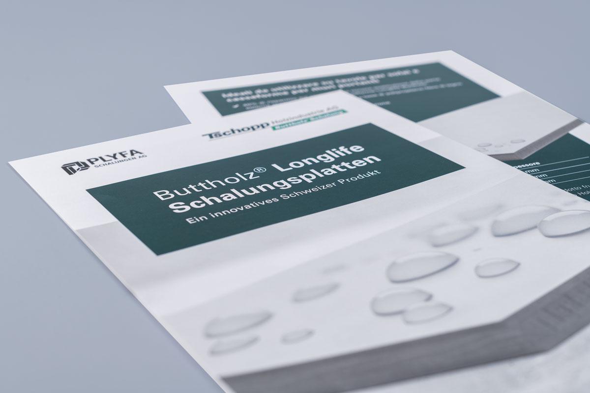 Titelseite Produktbroschüre Longlife Schalungsplatte im neuen Corporate Design von Tschopp Holzindustrie
