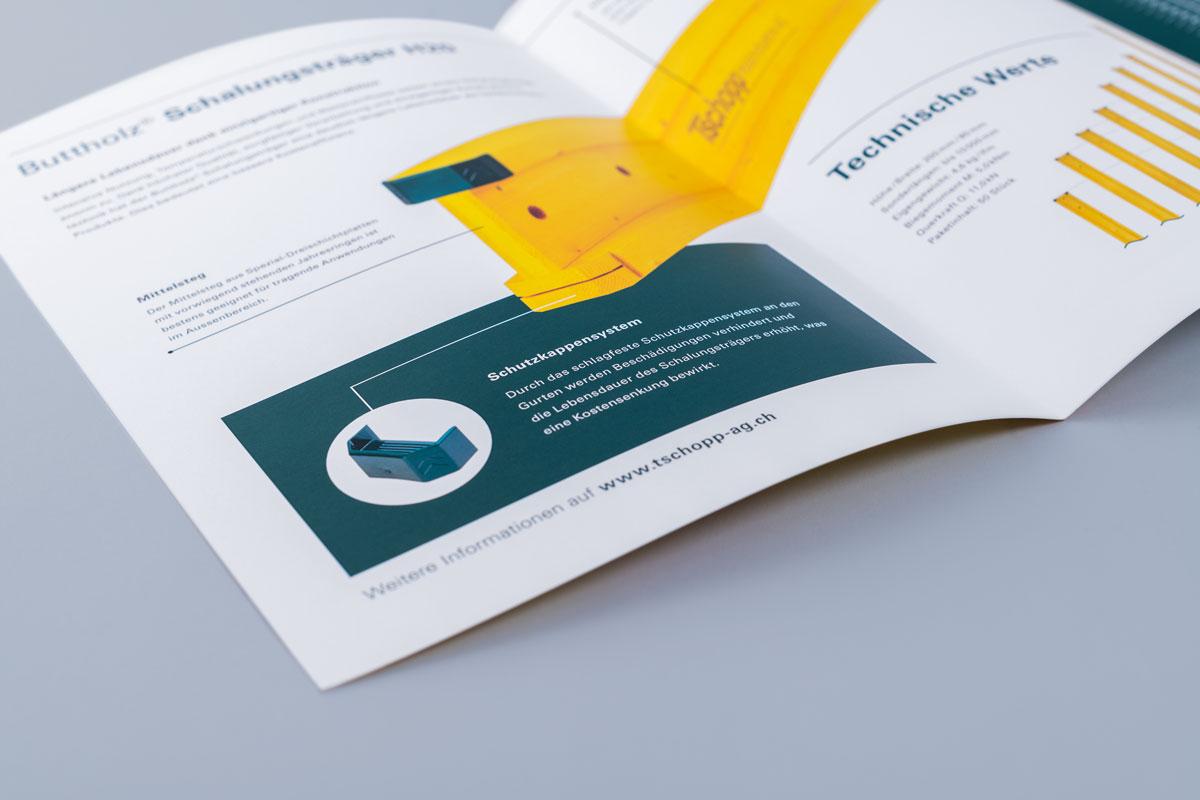 Produktbroschüre Schalungsträger im Corporate Design von Tschopp Holzindustrie