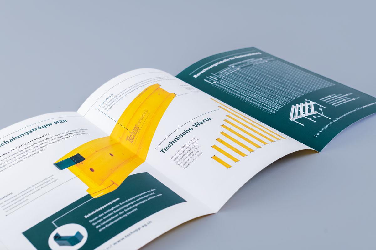 Träger Produktbroschüre im neuen Corporate Design von Tschopp Holzindustrie