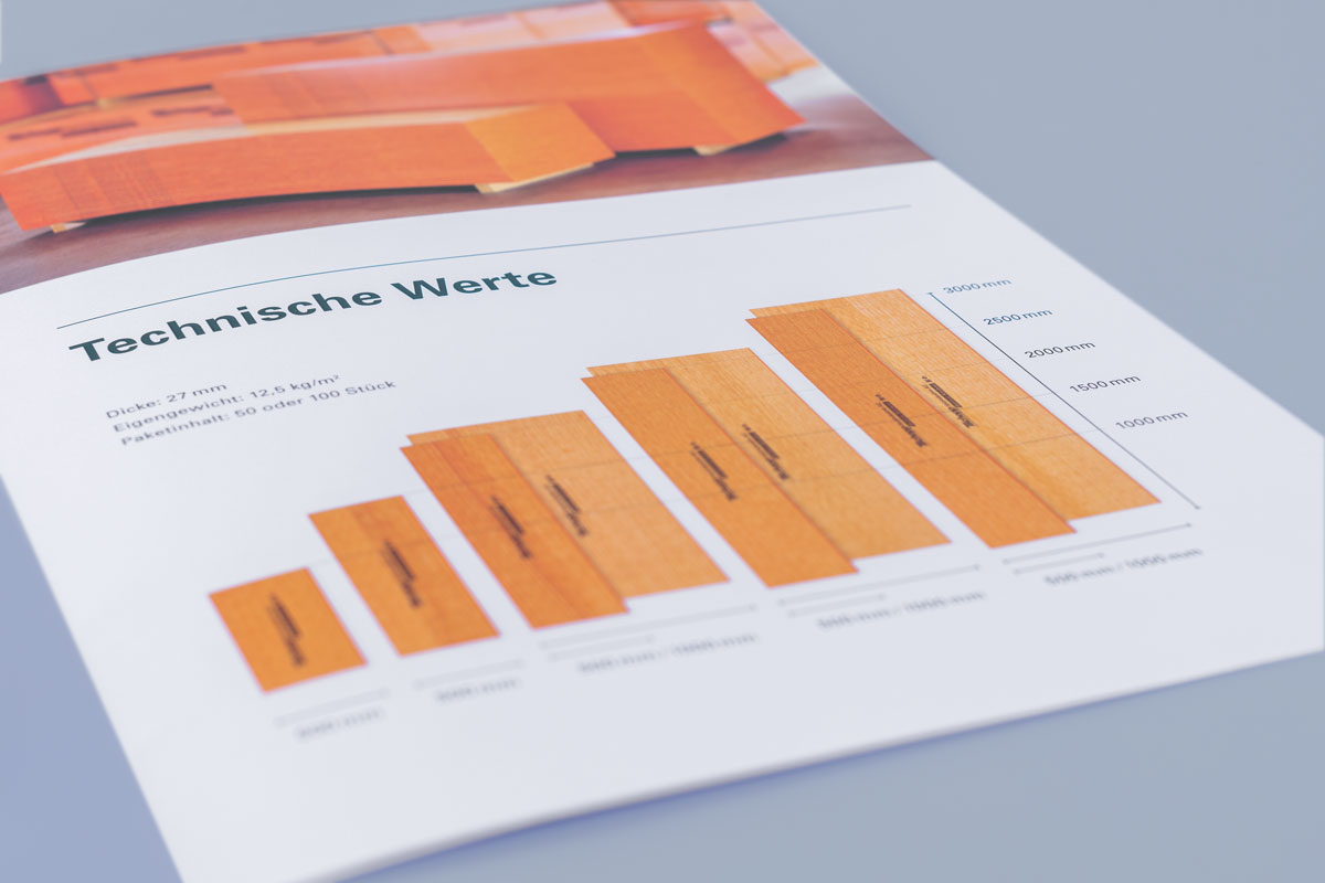 Grafik in einer Produktbroschüre im neuen Corporate Design von Tschopp Holzindustrie