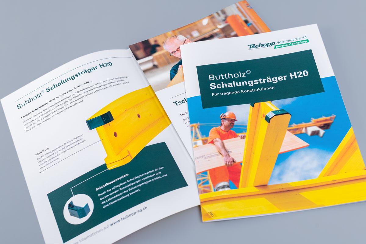 Produktbroschüre im neuen Corporate Design von Tschopp Holzindustrie